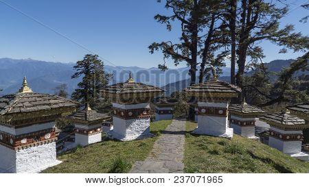 Druk Wangyal Chortens At Dochula Pass. Kingdom Of Bhutan. Asia