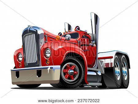 Cartoon Retro Semi Truck Isolated On White Background. Available Eps-10 Vector Format Separated By G