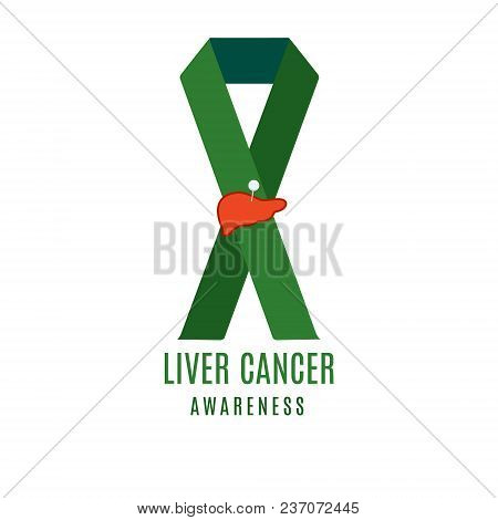 Liver Cancer Awareness Poster Design Template. Emerald Green Ribbon With Pinned Liver Icon On White