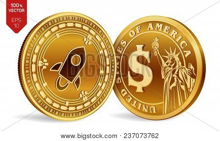 Stellar. Dollar Coin. 3d Isometric Physical Coins. Digital Currency. Cryptocurrency. Golden Coins Wi
