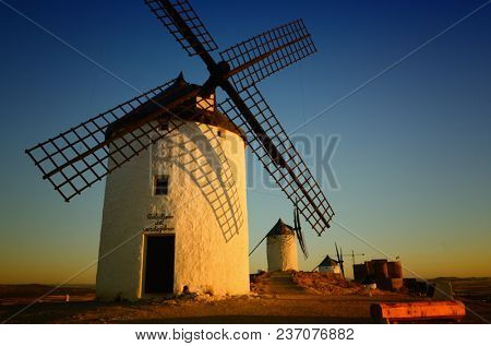 Famous windmills in Consuegra, Toledo, Spain. The first of the row is called