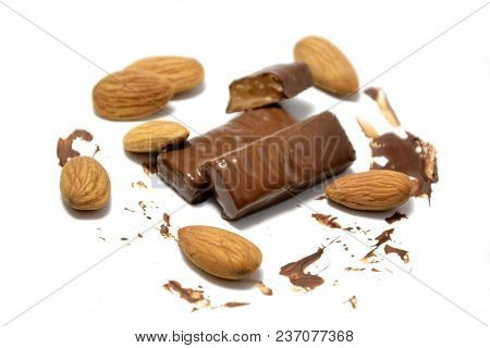 Almond Candy On A White Background. Candy Melted In Your Mouth.
