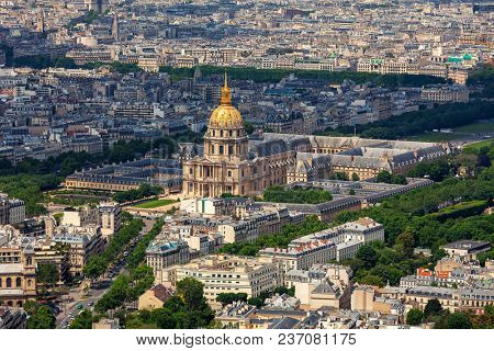 Aerial view of famous Les Invalides and typical parisian buildings as seen from Montparnasse Tower in Paris, France.