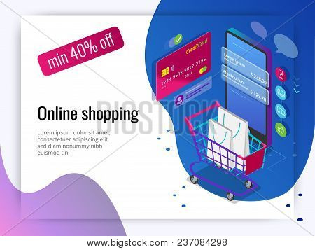 Isometric Smart Phone Online Shopping Concept. Online Store, Shopping Cart Icon. Ecommerce.