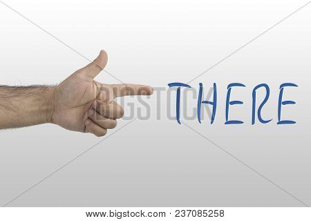 Hand Gesture On White Background. Aiming Hand Sign. Forefinger, Pointing Hand. The Hand Points To Th