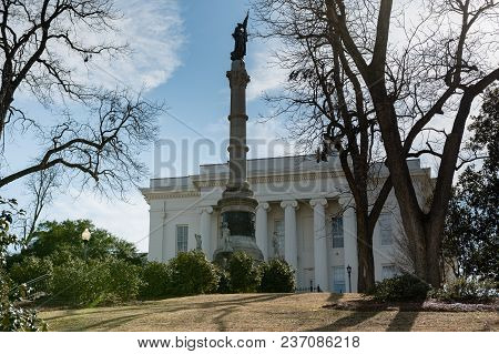 Montgomery, Alabama, Usa - January 20, 2018: The Confederate Memorial Monument On The Grounds Of The