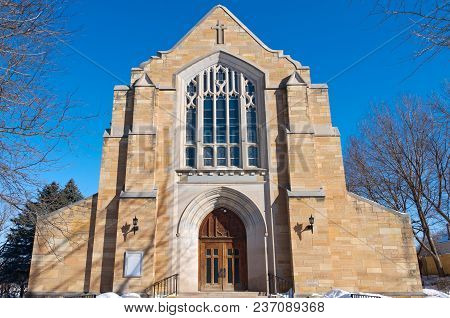 Front Entrance And Facade Of Neo Gothic Style Landmark Church In Saint Paul Minnesota