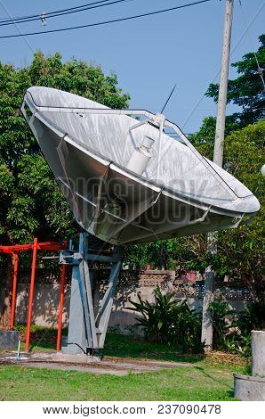 The Satellite Receiver Is Located At The Broadcast Station.