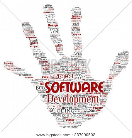 Conceptual software development project coding technology hand print stamp word cloud isolated background. Collage of application web design, seo ideas, implementation, testing upgrade concept