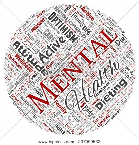 Conceptual mental health or positive thinking round circle red word cloud isolated background. Collage of optimism, psychology, mind healthcare, thinking, attitude balance or motivation text