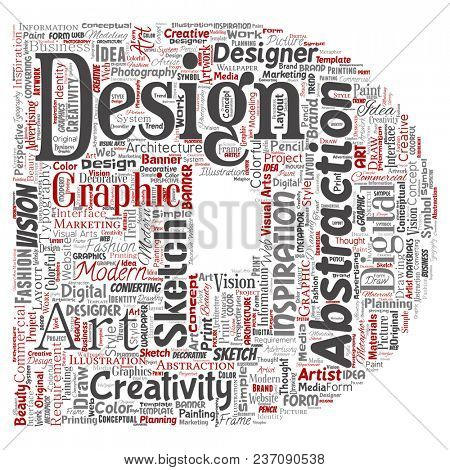 Conceptual creativity art graphic identity design visual letter font D word cloud isolated background. Collage of advertising, decorative, fashion, inspiration, vision, perspective modeling