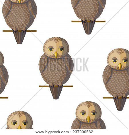 Seamless Vector Pattern With Brown Beige Sepia Owls.