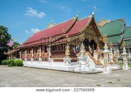 Wat Ming Muang The Beautiful Temple In Chiang Rai Province Of Thailand.