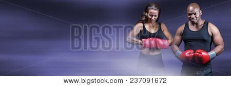 Boxer fighter man and woman with purple transition