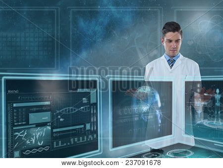 Man doctor interacting with medical interfaces against a sky with flares