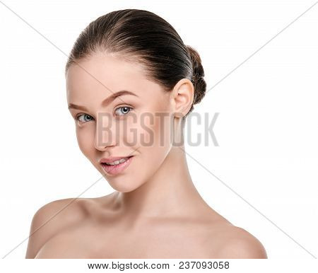 Charming Beauty Young Woman On White Background