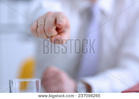 Male Arm Point Forefinger To You Or Camera During Conference Conversation In Office Closeup. Suggest
