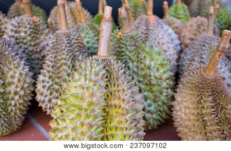 Tropic Fruit Durian On Market Table. Exotic Fruit Durian For Sell. Whole Ripe Durian With Green Spik