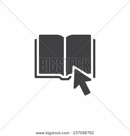 Click On Book Vector Icon. Filled Flat Sign For Mobile Concept And Web Design. Book Mouse Cursor Sim