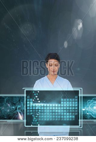 Woman doctor interacting with medical interfaces against blue background with flares