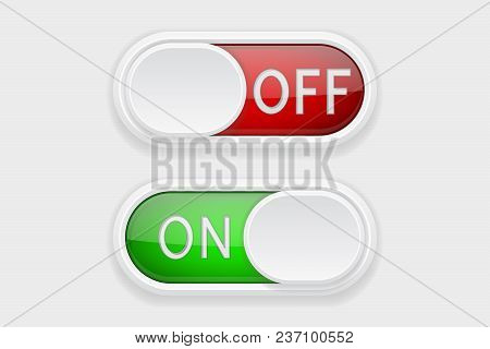 Toggle Switch Buttons. On And Off Red And Green Buttons. Vector 3d Illustration