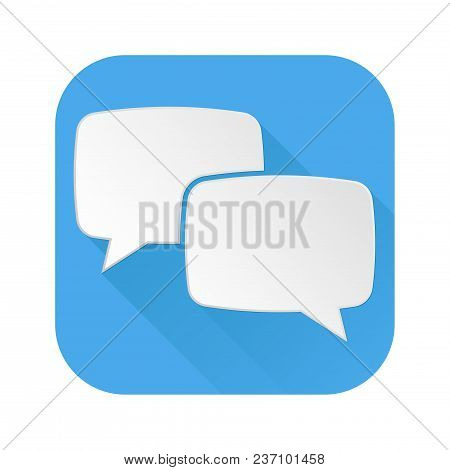 Dialog Icon. Speech Bubbles Blue Sign. Vector Illustration Isolated On White Background