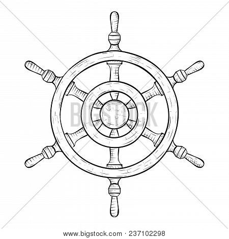 Steering Wheel. Hand Drawn Sketch. Vector Illustration Isolated On White Background