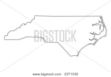 North Carolina (Usa) Outline Map With Shadow