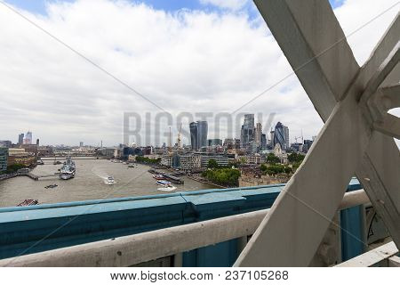 London, United Kingdom - June 22, 2017: Modern Office Buildings In London, View From Tower Bridge, L