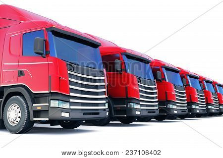 3d Render Illustration Of The Row Of Cargo Trailer Rucks Isolated On White Background