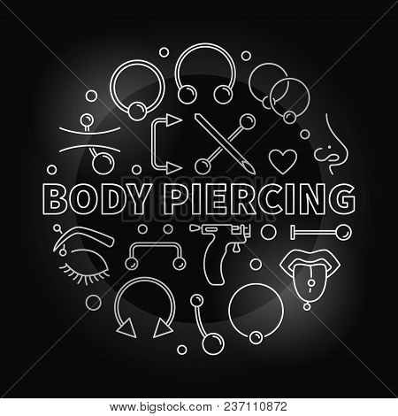 Body Piercing Round Vector Silver Illustration In Outline Style Made With Cute Piercings Icons On Da
