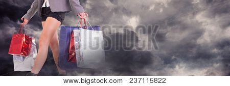 Woman shopping with bags and dark clouds transition
