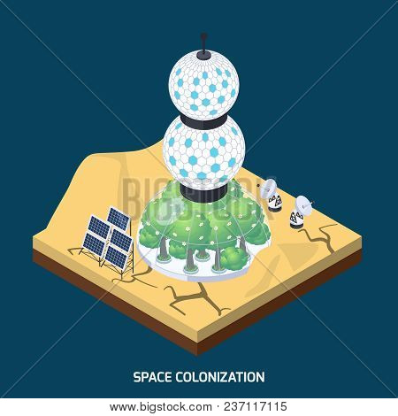Space Colonization Terraforming Isometric Composition With Piece Of Planet Landform And Cultivation