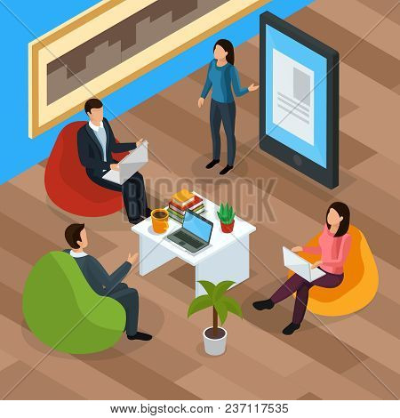 E-learning Isometric Landing Page, Human Characters With Mobile Devices During Electronic Lecture Ve