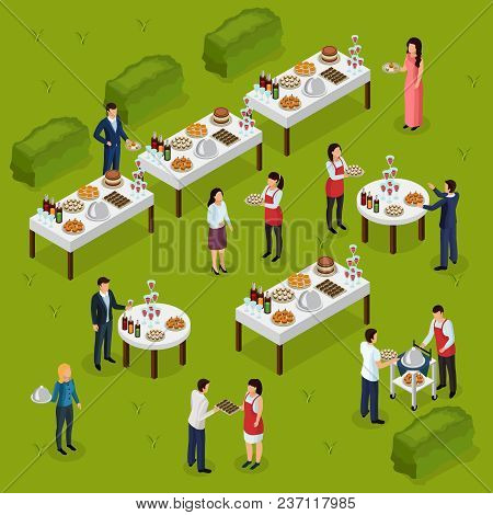 Catering Isometric Composition Banquet At Outdoor, Feast Tables, Staff On Green Background Vector Il