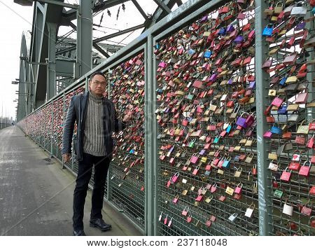 Cologne, Germany - December 30, 2016: Love Locks At The Hohenzollern Bridge, Cologne, Germany.