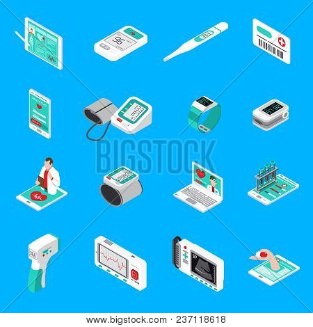 Medical Gadgets Including Blood Pressure Monitor, Glucometer, Thermometer, Pocket Cardiograph, Isome