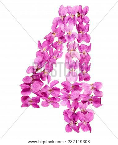 Arabic Numeral 4, Four, From Flowers Of Viola, Isolated On White Background