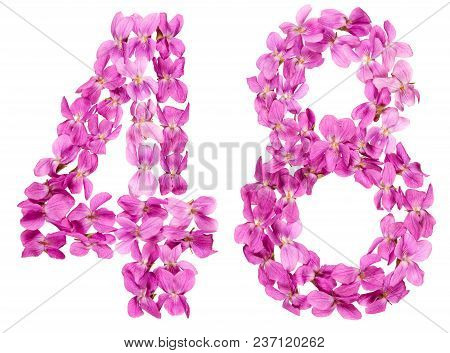 Arabic Numeral 48, Forty Eight, From Flowers Of Viola, Isolated On White Background