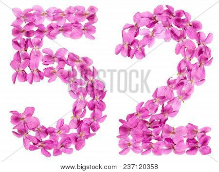 Arabic Numeral 52, Fifty Two, From Flowers Of Viola, Isolated On White Background
