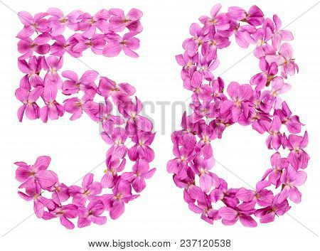 Arabic Numeral 58, Fifty Eight, From Flowers Of Viola, Isolated On White Background