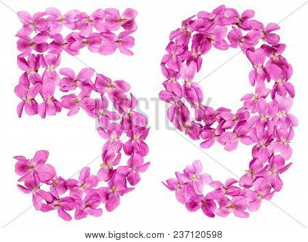 Arabic Numeral 59, Fifty Nine, From Flowers Of Viola, Isolated On White Background