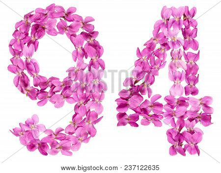 Arabic Numeral 94, Ninety Four, From Flowers Of Viola, Isolated On White Background