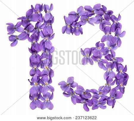 Arabic Numeral 13, Thirteen, From Flowers Of Viola, Isolated On White Background