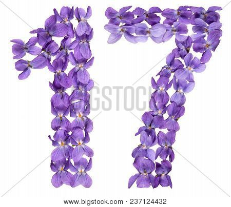 Arabic Numeral 17, Seventeen, From Flowers Of Viola, Isolated On White Background