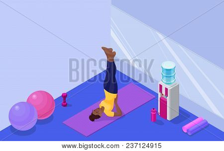 Yoga Studio Interior With African Woman Doing Physical Fitness Exercise, Isometric 3d Vector Illustr