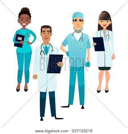 Doctors And Nurses Team. Cartoon Medical Staff. Medical Team Concept. Surgeon, Nurse And Therapist O