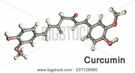 Curcumin Molecule, A Yellow-orange Dye Obtained From Turmeric, 3d Illustration. It Has High Antioxid