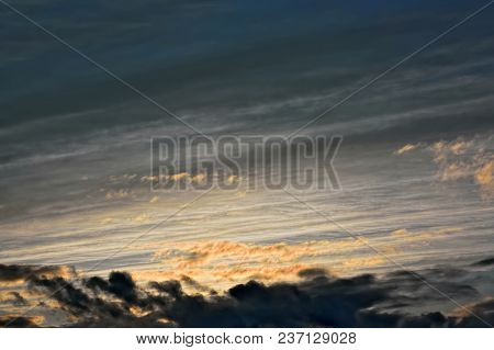 Dramatic Sky At Sunset With Dark Clouds Before The Hurricane