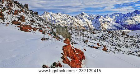 Mountain Panorama Of Caucasus Mountains. Russia, Kabardino-balkaria.